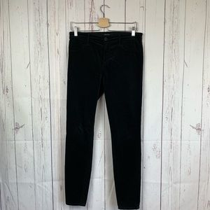 J Brand Super Skinny High-Rise Black Velour Pants